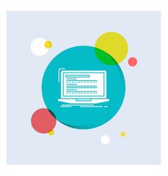 code coding computer monoblock laptop white glyph vector image