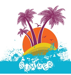 Color symbol of tropical island vector image