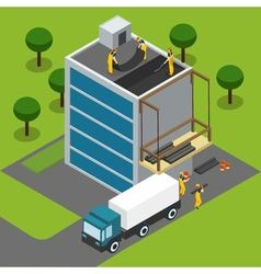 Construction Workers Completing Building Isometric vector image