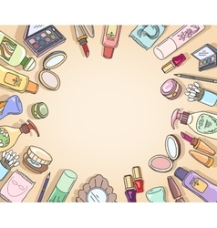Cosmetics hand drawn top view frame vector image