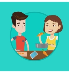 Couple cooking healthy vegetable meal vector