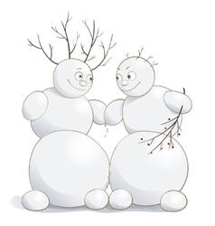 Cute amorous snowmen vector