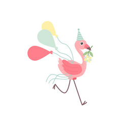 Cute flamingo wearing party hat running with vector
