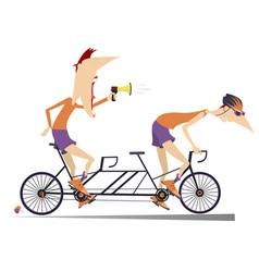 Cyclist and coach rides a tandem bike vector