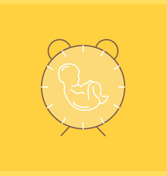 Delivery time baby birth child flat line filled vector