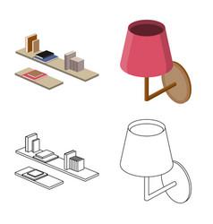 Design of bedroom and room symbol set of vector