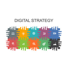 Digital strategy cartoon template with flat vector