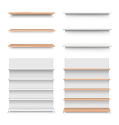 emply wooden shelf set isolated white background vector image