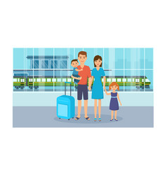 Family with luggage is in of the railway station vector
