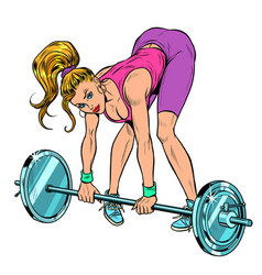 Female athlete weightlifting lifting barbell vector