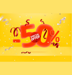 Fifty percent sale off special offer promo banner vector