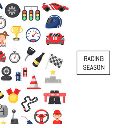 flat car racing icons background with place vector image