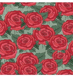 Flower of seamless pattern with red roses backgrou vector image