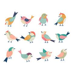 flying birds decorative folk stylized vector image