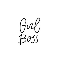 girl boss feminist calligraphy quote lettering vector image