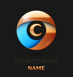 golden letter c logo symbol in golden-blue circle vector image