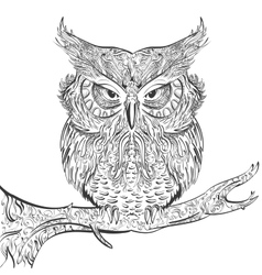 Gray Owl ornament black on a white background vector image