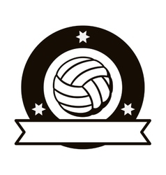 gray scale emblem with volleyball ball and ribbon vector image