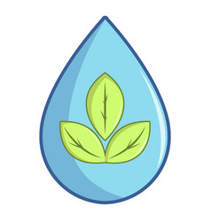 green leaves inside water drop icon cartoon style vector image
