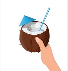 half coconut in hand cold drink vector image