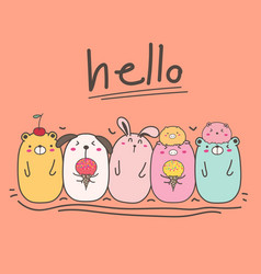 hand drawn cute animal with say hello vector image