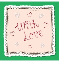 Handkerchief with embroidery vector image