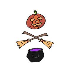 Happy halloween color icon witch cauldron vector