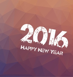 Happy new year 2016 on triangle polygon vintage vector