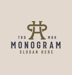 hc ch monogram vintage logo template vector image