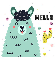 Hello card with a cute llama colorful print for vector
