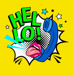 hello pop art vector image