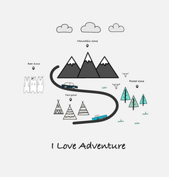 I love adventure typography with car bear and tent vector