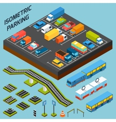 Isometric Parking Elements vector image