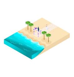 isometrics of the wedding ceremony on the beach vector image