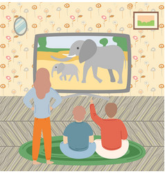 kids watching movies girl and boy tv vector image