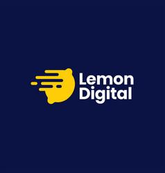 lemon digital fast dash quick delivery logo icon vector image