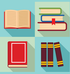 library books icon set flat style vector image