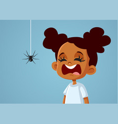 Little scared african girl suffering from vector