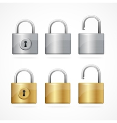 Locked and unlocked padlock set vector