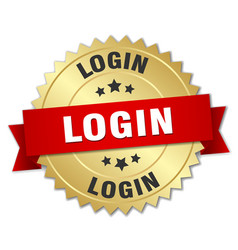 Login 3d gold badge with red ribbon vector