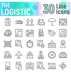 Logistic line icon set delivery symbols vector