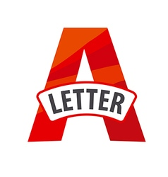 logo red letter A with a ribbon vector image