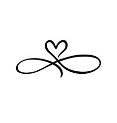 Love heart infinity black sign vector