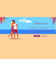 Lovely hugging couple on summer beach web banner vector