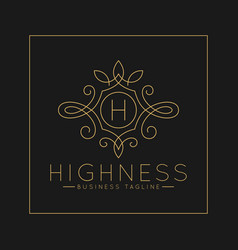 Luxurious letter h logo with classic line art vector