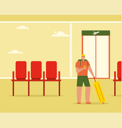 man with luggage using smartphone in airport vector image