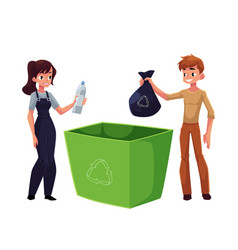 man woman putting garbage into trash bin waste vector image