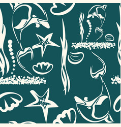 marine pattern ocean creatures isolated on dark vector image