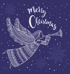 merry christmas angel with horn and snow vector image