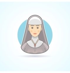 Nun sister cloitress icon Avatar and person vector